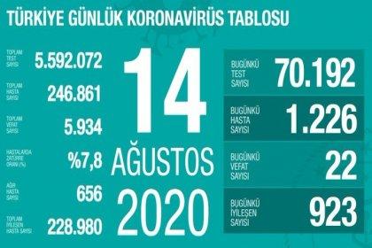 Türkiye'de 14 Ağustos'da Covid_19'dan 22 toplamda 5.934 kişi öldü