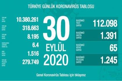 Türkiye'de 30 Eylül'de Covid_19'dan 65 toplamda 8.195 kişi öldü