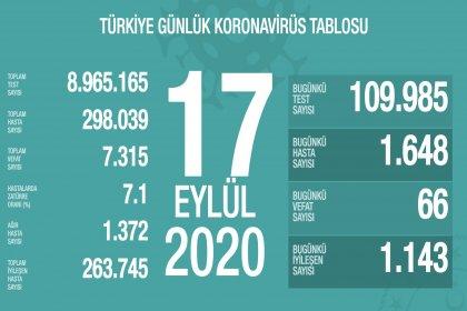Türkiye'de Covid-19'dan 66 kişi daha hayatını kaybetti, ölü sayısı 7 bin 315'e yükseldi