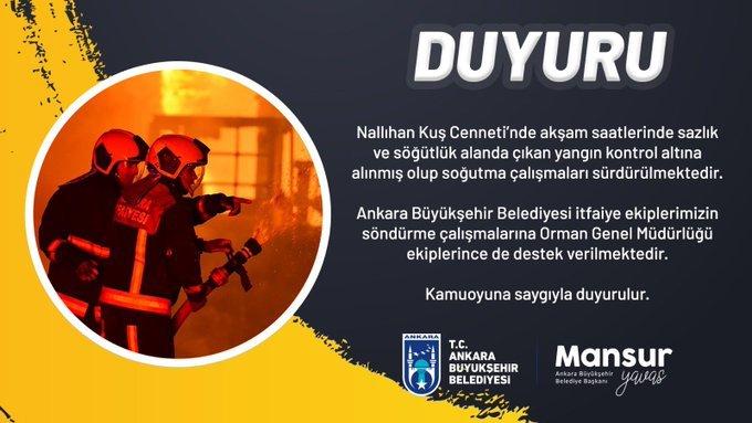 Ankara Büyükşehir Belediyesi Nallıhan Kuş Cenneti'nde akşam saatlerinde çıkan yangının kontrol altına alındığını duyurdu