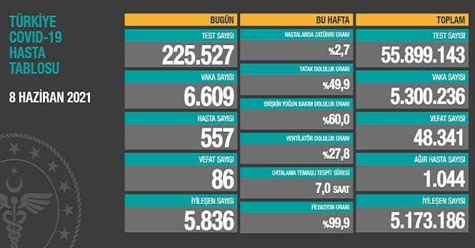 Covid_19, Türkiye'de 8 Haziran'da 86 toplamda 48.341 can aldı