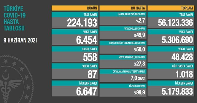 Covid_19, Türkiye'de 9 Haziran'da 87 toplamda 48.428 can aldı
