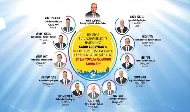 Tekirdağ Büyükşehir Belediye Başkanı Albayrak, 11 ilçe belediye başkanı ile basın toplantısı düzenleyecek