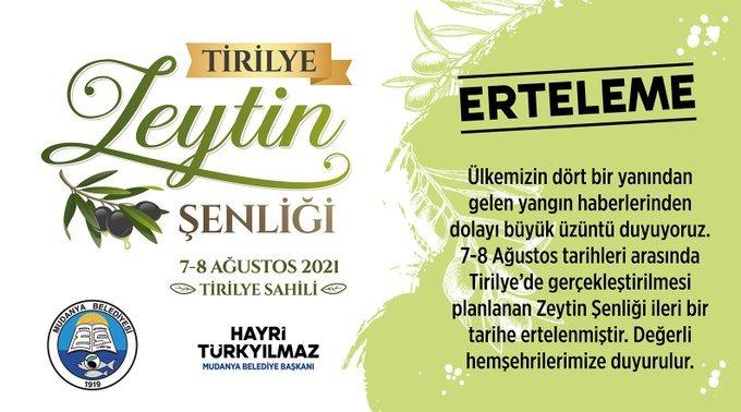 Tirilye Zeytin Şenliği ertelendi