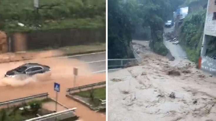 Yine Rize'de dereler taştı, evleri su bastı, yollar kapandı