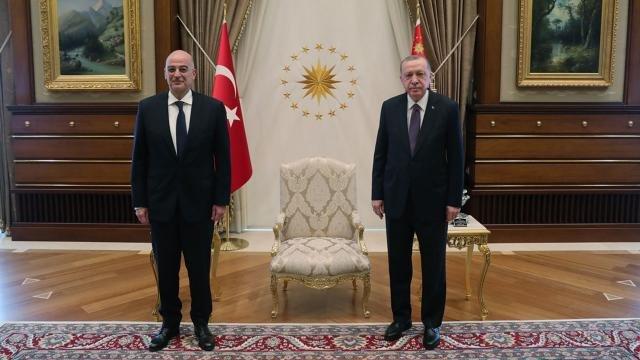 Yunanistan Dışişleri Bakanı Dendias, Erdoğan'la bir araya geldi