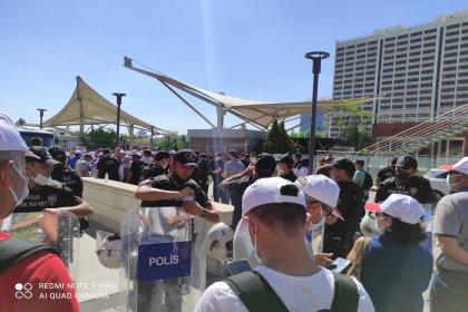 Birleşik Kamu-İş'in toplu sözleşme protestosuna polis engelli