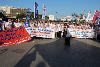 Birleşik Kamu İş'ten TİS görüşmeleri öncesi İstanbul'da eylem: 'Kamu emekçilerinin sefalet oranlı zam taleplerine karşı karnı tok'