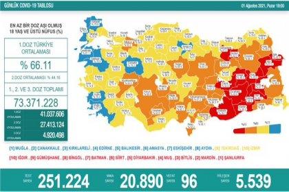 Covid_19, Türkiye'de 1 Ağustos'ta 96 toplamda 51.428 can aldı