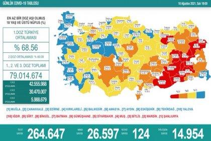 Covid_19, Türkiye'de 10 Ağustos'ta 124 toplamda 52.437 can aldı
