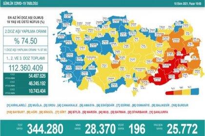 Covid-19, Türkiye'de 10 Ekim'de 196 toplamda 66.115 can aldı