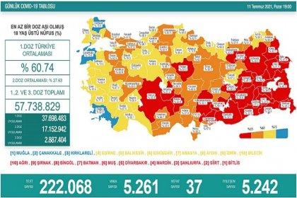 Covid_19, Türkiye'de 11 Temmuz'da 37 toplamda 50.229 can aldı