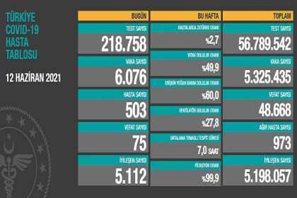 Covid_19, Türkiye'de 12 Haziran'da 75 toplamda 48.668 can aldı