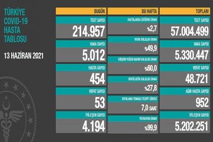 Covid_19, Türkiye'de 13 Haziran'da 53 toplamda 48.721 can aldı