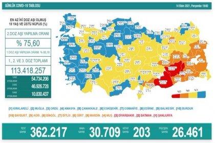 Covid-19, Türkiye'de 14 Ekim'de 203 toplamda 66.979 can aldı