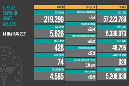 Covid_19, Türkiye'de 14 Haziran'da 74 toplamda 48.795 can aldı
