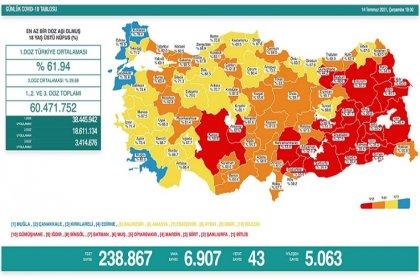 Covid_19, Türkiye'de 14 Temmuz'da 43 toplamda 50.367 can aldı