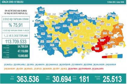 Covid-19, Türkiye'de 15 Ekim'de 181 toplamda 67.160 can aldı