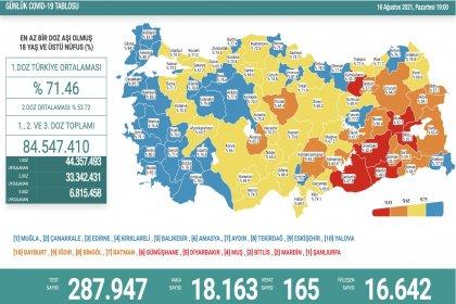 Covid_19, Türkiye'de 16 Ağustos'ta 165 toplamda 53.324 can aldı