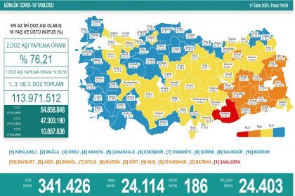 Covid-19, Türkiye'de 17 Ekim'de 186 toplamda 67.558 can aldı