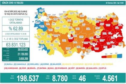 Covid_19, Türkiye'de 20 Temmuz'da 46 toplamda 50.650 can aldı