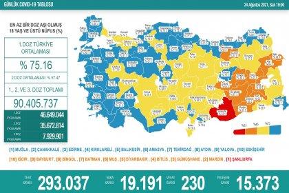 Covid_19, Türkiye'de 24 Ağustos'ta 230 toplamda 54.990 can aldı