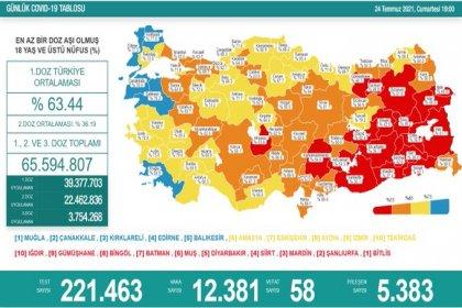 Covid_19, Türkiye'de 24 Temmuz'da 58 toplamda 50.879 can aldı