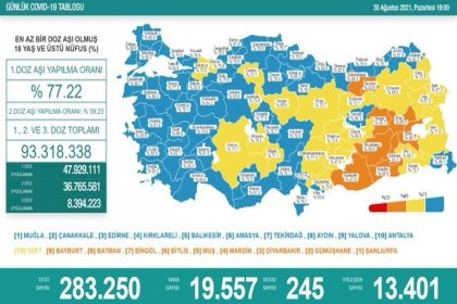Covid_19, Türkiye'de 30 Ağustos'ta 245 toplamda 56.453 can aldı