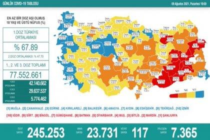 Covid_19, Türkiye'de 9 Ağustos'ta 117 toplamda 52.313 can aldı