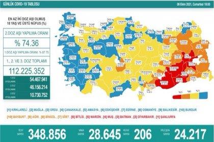 Covid-19, Türkiye'de 9 Ekim'de 206 toplamda 65.919 can aldı